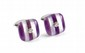 FRED  PAIRE DE BOUTONS DE MANCHETTES en or gris, rayés d'améthyste et de nacre alternés, chacun piqué d'un diamant. Signés. Dans leur écrin  Poids?: 9,7 g