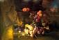 Jan Pauwel GILLEMANS (Anvers, 1651-1702) Singe et perroquet se querellant autour de fruits posés sur une margelle de pierre. Panneau parqueté signé en bas à droite. 49,5 x 69 cm Provenances: - Vente Cornette de St-Cyr Paris, le 22 juin 2011 -