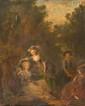 Jean-Frédéric SCHALL (1752-1825), Attribué à Portrait de famille dans un parc Huile sur papier marouflé sur bois. 36,5 x 29 cm (Dans un cadre en bois doré fin XVIII° siécle, sculpté de feuilles d'acanthes dans la doucine.) Jean-Frédéric Schall s'est
