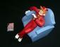 CHALAND  Spirou fauteuil  Figurine éditée par Saint-Emett à 250 exemplaires  Parfait état bien complet de la petite bd certificat