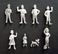 HERGE Tintin Set de six figurines en étain sans marquage apparent comprenant Tintin, Milou, les Dupondt, Tournesol et Haddock  taille 8 cm  On y joint une figurine de Natacha et la castafiore siglée Esso Belvision
