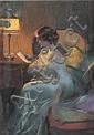 Delphin Enjolras (1857-1945)  Femme lisant une lettre  Pastel Signé en bas à gauche D.Enjolras  49 x 37 cm