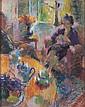 Suzanne Blanche KAEHRLING (1902-1985)  Femme à la couture   Pastel, signé en bas à droite  63 x 50 cm