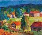 Serge MENDJISKY (né en 1929)  Paysage aux toits rouges  Huile sur toile, signée en bas au centre   Légères craquelures   46 x 55 cm