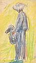 Alfred SYSLEY (1839-1899)  Paysanne   Crayon de couleurs sur papier monogrammé en bas à gauche.   9,3 x 5,2 cm   Un certificat de Mrs Brame et Lorenceau sera remis à l'acquéreur   Provenance: Vente Couturier décembre 1981 sous le n° 57