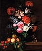 Paul LIEGEOIS (actif à Paris au milieu du XVII° siècle, entre 1650 et 1670) Nature morte aux fleurs dans un vase et aux fruits (pêches et cerises) sur un entablement en pierre. Huile sur toile H : 71,5 L : 54,5 cm (Restaurations au