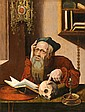 ECOLE FLAMANDE VERS 1600,  SUIVEUR DE MARINUS VAN REYMERSWAEL  Saint Jérôme dans son cabinet  Panneau de chêne, parqueté  65x49,5cm  Restaurations
