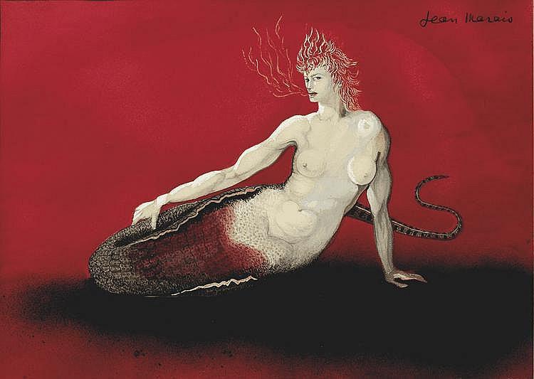 Jean MARAIS (1913 - 1998) Sirène Technique mixte sur papier Signée en haut à droite 37 x 52 cm
