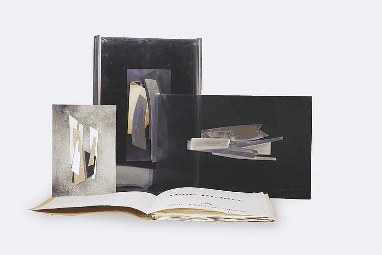 Hans RICHTER (1888-1976) Movements, 1970 Emboitage en plexiglas contenant: un portfolio de cinq gravures, un collage sur papier signé et cinq collages sur plexiglas signés, datés et numérotés 8/150 Edition Aline Elmayan 49 x 33 x 13 cm