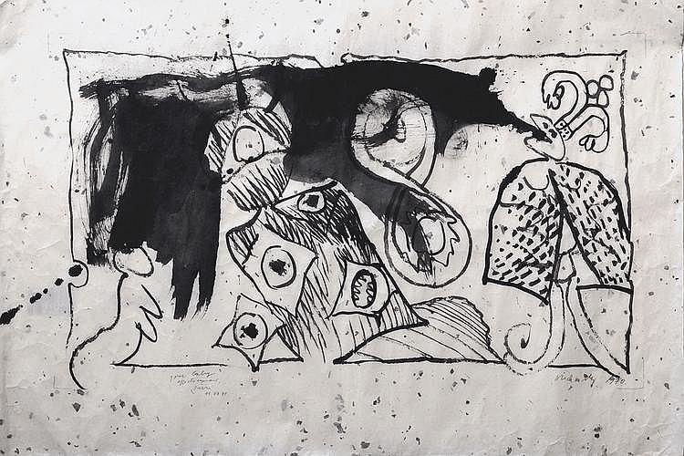 Pierre ALECHINSKY (né en 1927) COMPOSITION Encre de chine sur papier calque, signé et daté 1970 en bas à droite, dédicacé en bas à gauche à la mine de plomb. 66 x 97 cm