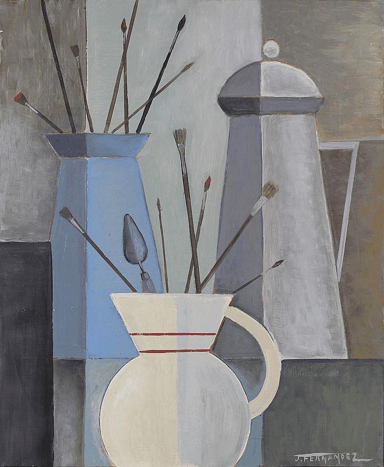 Juan FERNANDEZ (1926-2004) L'atelier Huile sur toile, signée en bas à droite, datée 1969 et titrée au dos 45,5 x 38 cm Juan Fernandez est né à Oran en 1926 de parents espagnols. Il arrive à Paris en 1946 et obtient une bourse qui lui permet de