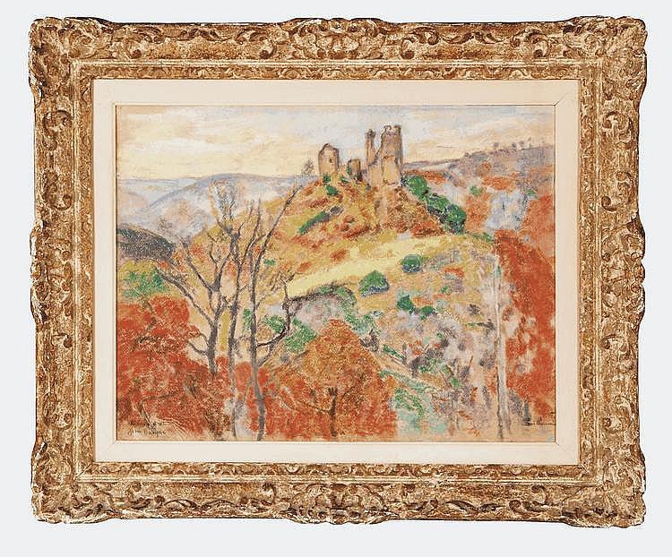 Armand GUILLAUMIN (1841-1927) Les ruines du Château Crozant Pastel vers 1910, signé en bas à droite, dédicace