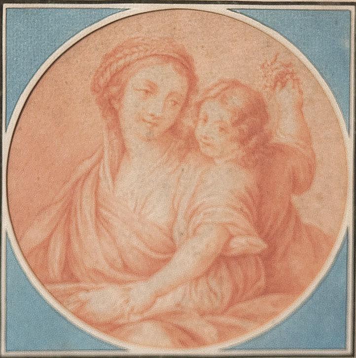 École FRANCAISE du XIX° siècle Vierge à l'Enfant Contre - épreuve de sanguine Diam. 16, 5 cm