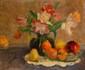 Martial  Nature morte aux fruits et fleurs.  Toile signée.