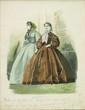 Hippolyte-Louis-Emile PAUQUET (né en 1797) Deux élégantes dans un interieur, l'une en robe grise, l'autre marron Mine de plomb et aquarelle Numérotée 47 en bas a droite, annotée en bas au centre