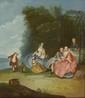 École FRANCAISE du XVIII°siècle, suiveur de Nicolas LANCRET Le déjeuner de campagne Toile 71 x 61 cm Sous l'aspect anodin d'une conversation galante, toute une tranche de vie se révéle. La composition nous renseigne sur l'importance sociale des