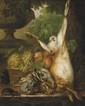 École FLAMANDE du XVIII° siècle, suiveur de Pieter Gerardus van OS Nature morte au lièvre devant un panier de fruits Toile 63 x 53 cm