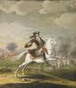 École ALLEMANDE du XVIII° siècle Portrait de l'Electeur de Hanovre, futur Georges Ier à cheval Toile 67 x 58,5 cm (restaurations) La maison de Hanovre, capitale de la principauté de Brunswick-Lunebourg, connaît une fortune florissante à la fin du