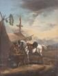 École ALLEMANDE du XIX° siècle Le repos du cavalier Toile marouflée sur panneau 31,5 x 24,5 cm