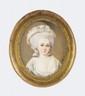 HOLE (Actif au XIX° siècle) Portrait de jeune femme Ivoire Signé en bas à droite Hole 4 x 3 cm