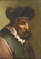 École ITALIENNE du XVIII° siècle Profil d'homme barbu Panneau 13 x 9,5 cm