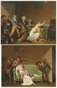 École FRANCAISE du XIX° siècle, suiveur de Louis Léopold BOILLY Scène de voleurs Les voleurs arrêtés Paire de panneaux parquetés 31 x 39,5 cm Reprise des compositions peintes en grisaille de Boilly (paire de toiles, 25 x 32 cm). La localisation du