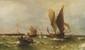Theodore Alexander WEBER (1838-1907) Voiliers et barques Huile sur toile, signée en bas à droite 64 x 110 cm (Restaurations)