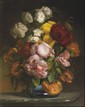 DURAND Bouquet de chrysanthèmes au vase bleu Signé et daté 1856 81 x 64 cm