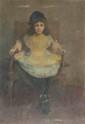 Léon DELACHAUX (1850-1919) Jeune enfant assis Huile sur panneau Ancienne étiquette au dos 55 x 38 cm