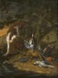 Adriaen de GRIEF (Anvers 1670 - Bruxelles 1715) Chien gardant le gibier devant un paysage Panneau de chêne, une planche, non parqueté 23,5 x 19,5 cm Porte un monogramme en bas au milieu ADG. F. (usures et restaurations) Provenance : Collection comte