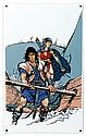 ROSINSKI   Plaque émaillée représentant Thorgal et Kriss de Valnor éditée par l'Age d'Or pour le festival BD de Charleroi en 1995  65 x 40 cm   Tirage limité à 30 exemplaires