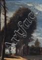 Jules DESOOFRE (Actif au XIX° siècle)  Allée dans la campagne  Sur sa toile d'origine  35 x 23 cm  Signée en bas à droite Jules Desoofre Restaurations