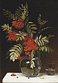 Emma MULVAD (1838-1903)  Bouquet de branches de  groseillier dans un vase  Huile sur toile, signée et datée 1886  en bas à droite.  58 x 40 cm