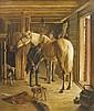 Gustaf-Ericson FISCHER  (1846-1893)  Le maréchal ferrant  dans l'écurie  Huile sur toile, signée et datée 1883  en bas à gauche  77 x 62 cm