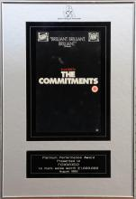 The Commitments, platinum performance award presented to Fox video to mark sales worth œ1,000,000, August 1992, framed & glazed, 40cm x 27cm