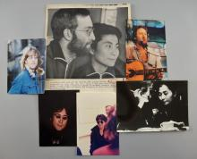 Six amateur & press photographs of John Lennon, Yoko Ono & Julian Lennon, various sizes, some stamped on reverse (6)
