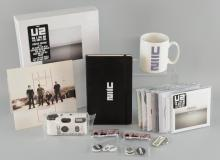 U2 No Line On The Horizon Special edition deluxe box set containing album, DVD, 64 page book & poster, album black box, four CD slip cases, Magnificent 7 inch vinyl, notebook, mug, instant camera, badges, keyring, CD album, 3 CD singles, 3 remix CDRÉs, interview disc & 2 U2 & Mary J.Blige One singles