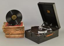 His Masters Voice portable gramophone and a quantity of 78rpm, 'Swing' and 'Big Band' records including Eddie Fisher, Ray Anthony, Artie Shaw, Glenn Miller, Duke Ellington, Stan Kenton, Woody Herman & Harry James, 40+