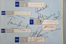 Snooker, Embassy World Snooker Souvenir Programme from 1987 signed by the players including Joe Johnson, Steve Davis, Cliff Thorburn, Dennis Taylor, Tony Knowles, Jimmy White, Alex Higgins, Willie Thorne, Stephen Hendry, Ray Reardon, & other celebrities including James Hunt, Des O'Connor (35+ signatures)