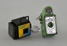 Coronet Midget 16mm Camera in green Bakelite case along with a modern mini-shot camera