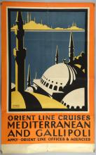 Herbert Gywnn, Orient Line Cruises, Mediterranean And Gallipoli, Apply, Orient Line Offices & Agencies, Travel Poster, folded, 39.5 x 24.5 inches