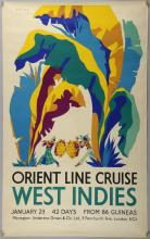 Herbert Gwynn, Orient Line Cruise, West Indies, Travel poster, rolled, 40 x 25 inches