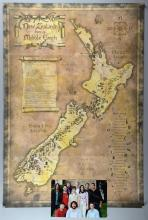Rare withdrawn Lord of the Rings double-sided poster, featuring Middle Earth on one side & Studio New Zealand on the other, prepared for Cannes Film Festival 2001 but unused & most were destroyed, contained in bespoke folder with colour photo of Peter Jackson & main cast, 27 x 39 inches