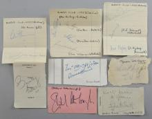 Autographs including Richard Attenborough, Elizabeth Webb, Ronald Shiner, Tennis Queens Club 1950's, A.E. Dehnert, S.Hojberg, Colin Hannam, Rex Hartwig, Ian Ayre, Mervyn Rose, Clive Wilderspin & others