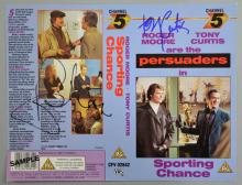 Persuaders, VHS cover signed by Roger Moore & Tony Curtis