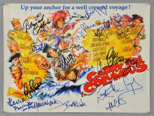 Carry On Columbus, Mini film poster signed by 18 including Bernard Cribbins, June Whitfield, Jim Dale, Linda Baron, Leslie Philips, Rick Mayall, Martin Clunes & others, 12 x 16 inches