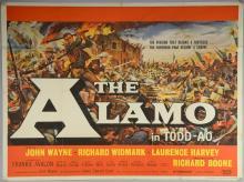 The Alamo (1960) British Quad film poster, starring John Wayne & Richard Widmark, United Artists, folded, 30 x 40 inches