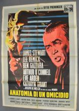 Anatomy of a Murder (1959) Italian 2 Folio film poster, Drama starring James Stewart, directed by Otto Preminger, Columbia, folded, 39 x 55 inches