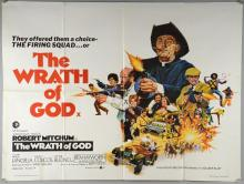 40+ British Quad film posters including The Wrath of God, Southwest To Sonora, James Bond Tomorrow Never Dies, Young Sherlock Holmes, Rhinestone & others, folded, 30 x 40 inches (40+)