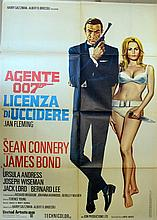 James Bond Dr. No (r-1971) Italian 2 Foglio film poster, starring Sean Connery and Ursula Andress,